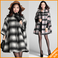 European Style raglan sleeve one button #oak poncho plaid 2017 women casual winter cashmere cardigans abrigos mujer coat #436