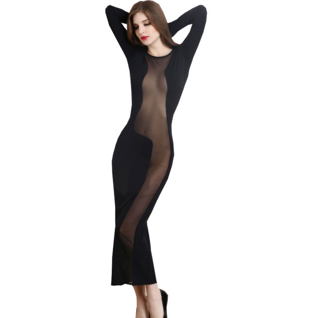 6abee99dcaa European Black Sheer Mesh Dress Sexy Night Club Dress 2017 Long Sleeve  Evening See Through Sexy Party Women Dress Exotic Dresses