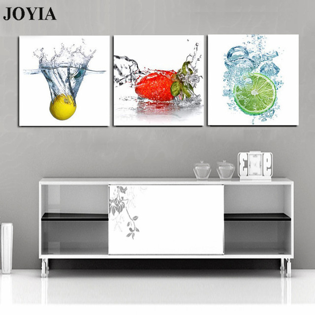 Superieur (No Frame) 3 Piece Set Modern Wall Art Pictures Fruits Canvas Prints Fresh  Fruit In Water Painting For Room Kitchen Wall Decor