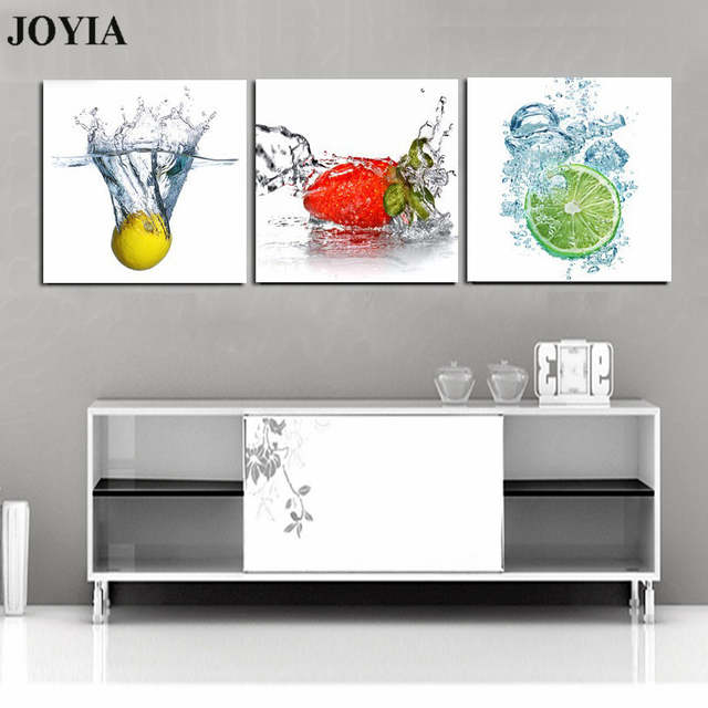 (No Frame) 3 Piece Set Modern Wall Art Pictures Fruits Canvas Prints Fresh  Fruit In Water Painting For Room Kitchen Wall Decor