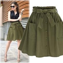 High Elasticity Waist Pocket Skirt Women Army Green Black Cotton 2018 New Summer A-line Casual Pleated Mini Clothing
