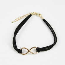 Fashion Infinity Rope Bracelet Hand-woven 10 Color Silver Korean Velvet Bracelet Fashion Wrap Leather Jewelry Women Accessory(China)