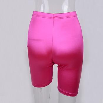 NewAsia Neon Biker Shorts Women 2019 New Solid Color Spandex Elastic High Waist Shorts Pink Sexy Bodycon Summer Shorts Black Red 6