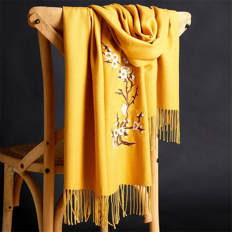 LaMaxPa 2018 New Winter Warm Solid Scarf For Women/Lady  Soft Wool Pashmina Shawls Flower Embroidery Cashmere Female Wraps Capes