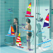 sport Sailboat Ship at sea wall sticker for shower tile stickers in the bathroom for children kids baby on bath AY7030