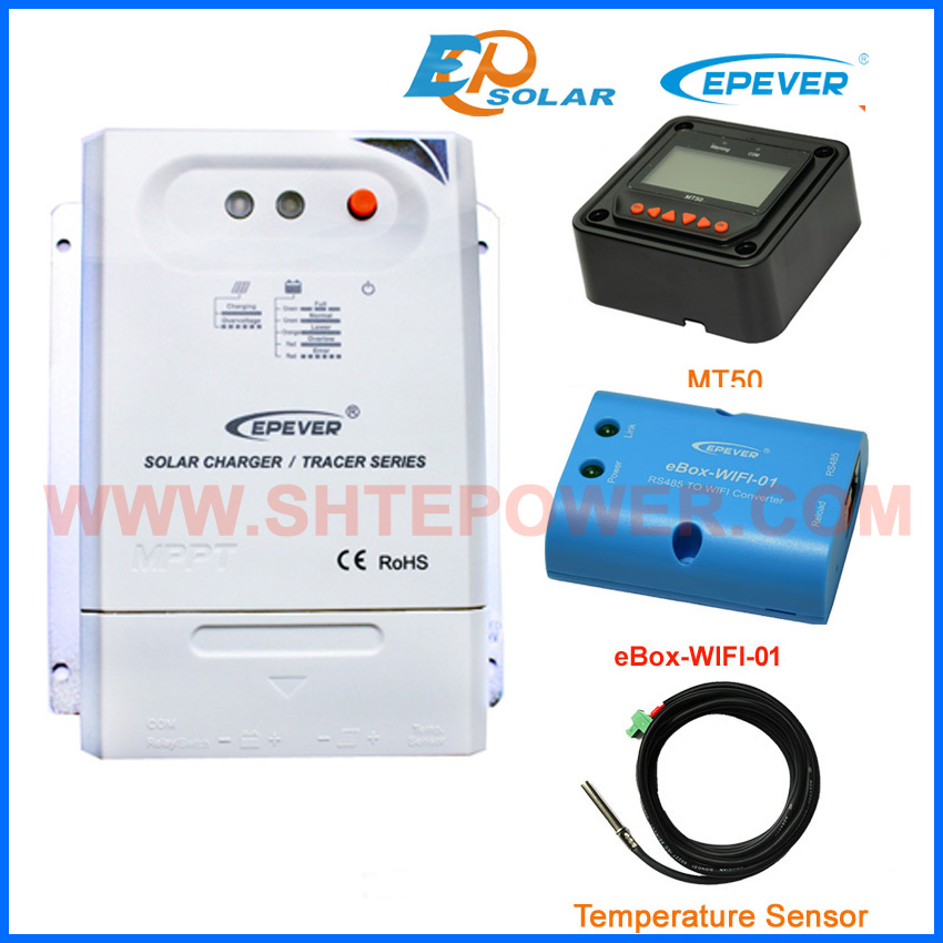 solar 30amp 30A panels Battery Charge Regulator wifi function temperature sensor Tracer3210CN for home use with black MT50 20a 12 24v solar regulator with remote meter for duo battery charging