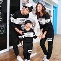 Família outono clothing olhar moda listrada combinando roupas da longo-luva camisetas mãe e filha roupas para a mãe e filho pai