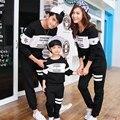 La familia del otoño clothing ver la moda a rayas de manga larga camisetas a juego trajes ropa para madre hijo hija madre y padre