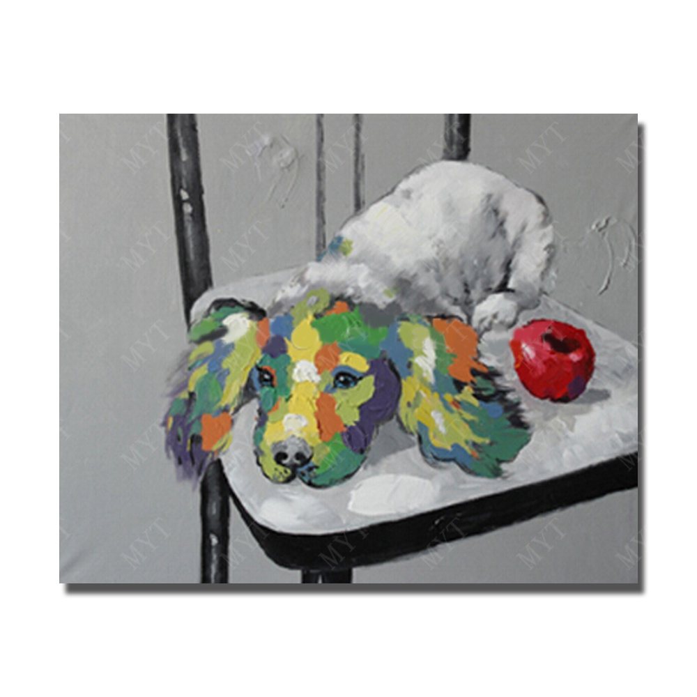 Pet Dog on The Chair Modern Wall Painting for Bedroom Kids Room Decor Cheap Animal Oil Painting No framed or With framed