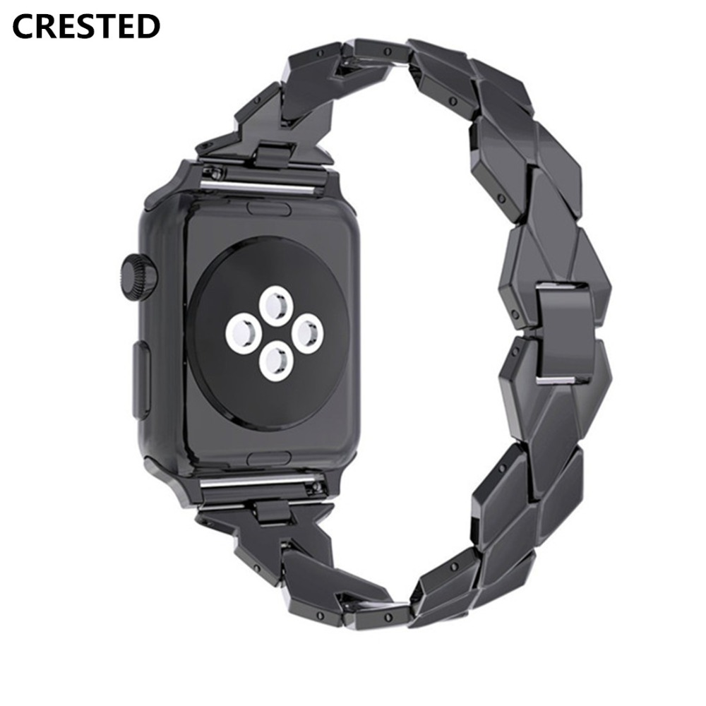 CRESTED Strap For Apple Watch band 42mm/38mm iwatch series 3/2/1 Stainless Steel Rhombus wrist Bands link Bracelet belt correa