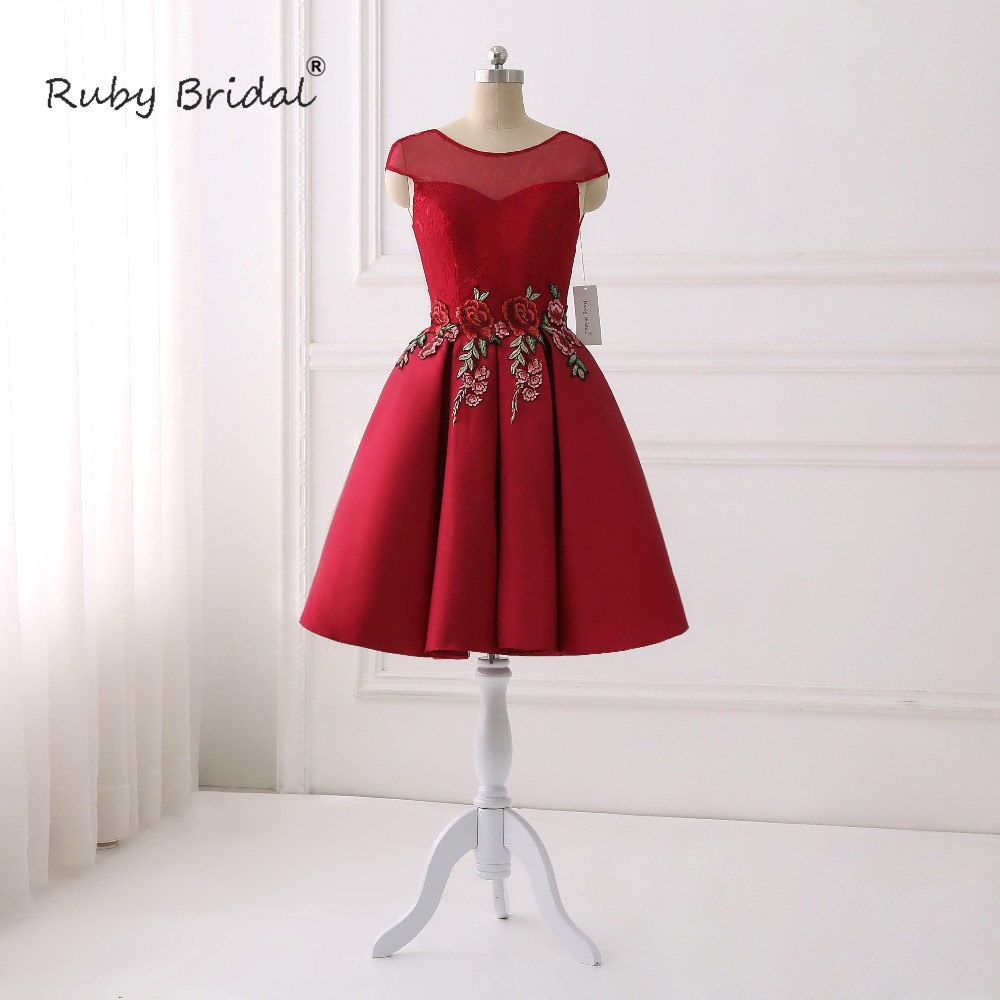 Ruby Bridal New Strapless Sleeveless  Stain Eveninmg Gown  Sashes A-Line Cap Sleeve  Prom Dress P003