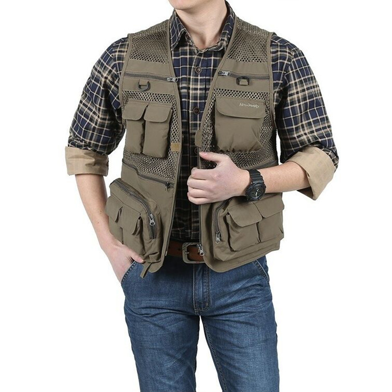 Outdoor Multi Pocket Fishing Photography Tactical Vests Men Quick Dry Thin Polyester Sleeveless Waistcoat Male Meah Colete Pesca