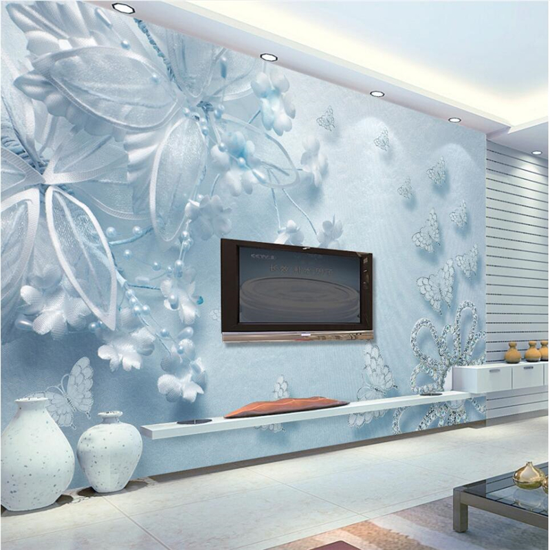 Beibehang Pura E Bella Blu 3d Trasparente Fiori Farfalla Tv Sfondo