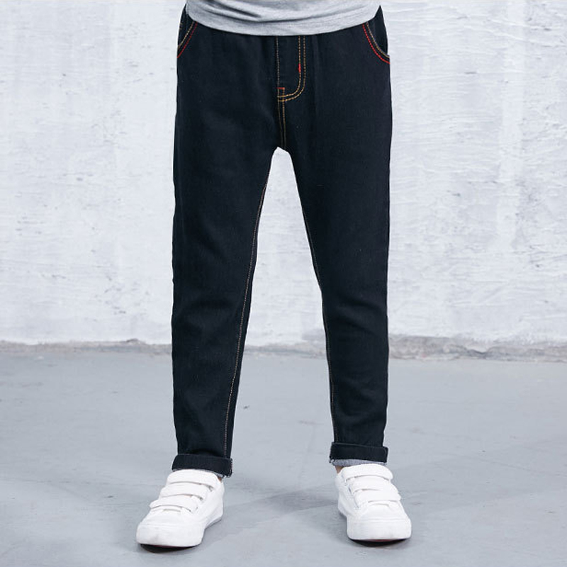 Autumn Winter Fashion Causal Kids Jeans Long Pants Fleece Warm Baby Boys Children Jeans Trousers Children Denim Clothing XL593 autumn original design men s hole denim jeans teenagers water wash jogger pants top cotton long trousers