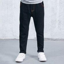 Autumn Winter Fashion Causal Kids Jeans Long Pants Fleece Warm Baby Boys Children Jeans Trousers Children Denim Clothing XL593