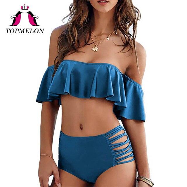 TopMelon купальник бикини женщин Высокая талия Push Up полые бикини Falbala боди ванный комплект пляжная одежда купальники женский Biquini
