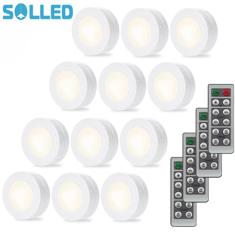 цена SOLLED 12PCS Wireless LED Puck Night Light Set Dimmer Timer Remote Control Stick-anywhere Cabinet Lighting Battery Powered