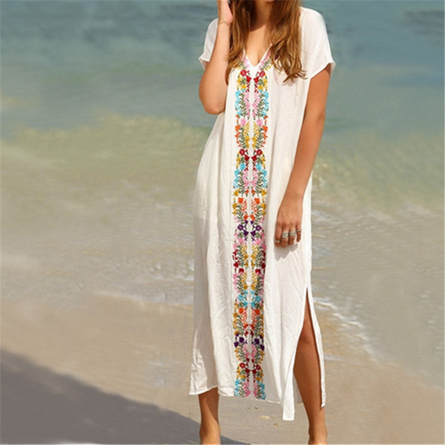 New Arrivals in this Summer Ladies Vintage Beach Cover up with Embroidery for Beach Swimwear