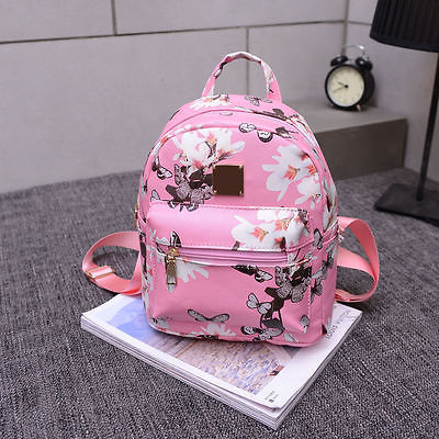 Cute Women Floral Shoulder Bag Fashion Travel Faux Leather Backpack Lady Print School Bag Girl Flower Satchel