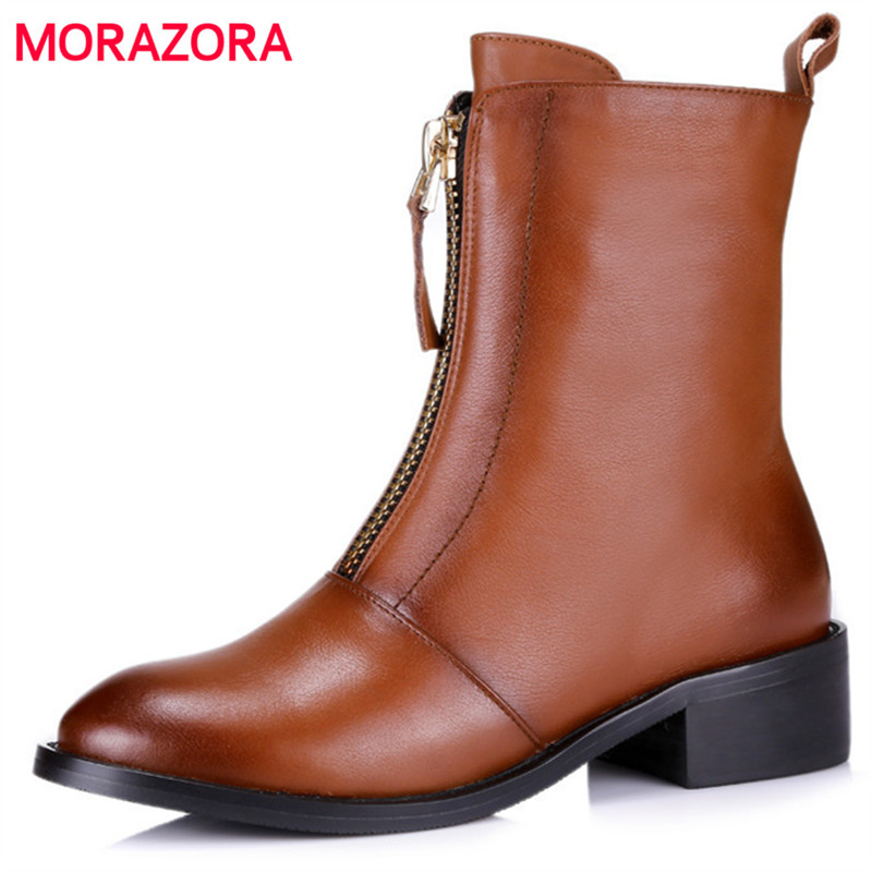 MORAZORA Cow leather + PU top quality ankle boots for women med heels shoes fashion handsome boots female big size 34-43 morazora fashion shoes woman ankle boots for women cow suede med heels shoes in spring autumn boots platform big size 34 44
