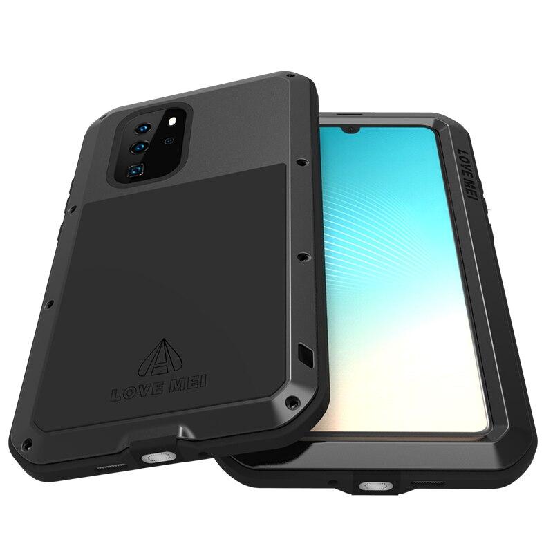 Armure en aluminium en métal pour Huawei P30 Pro étui antichoc robuste étui pour Huawei P30 Lite avec couvercle en verre Gorrila