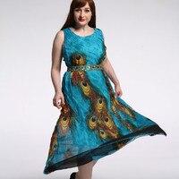 TUHAO Chiffon Dress Print Peacock Summer Party Tank Sleeveless High Waist Elegant Plus Size 9XL 8XL 7XL Women's Dresses CM249
