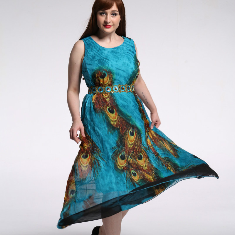 TUHAO Chiffon <font><b>Dress</b></font> Print Peacock Summer Party Tank Sleeveless High Waist Elegant <font><b>Plus</b></font> <font><b>Size</b></font> 9XL <font><b>8XL</b></font> 7XL Women's <font><b>Dresses</b></font> CM249 image