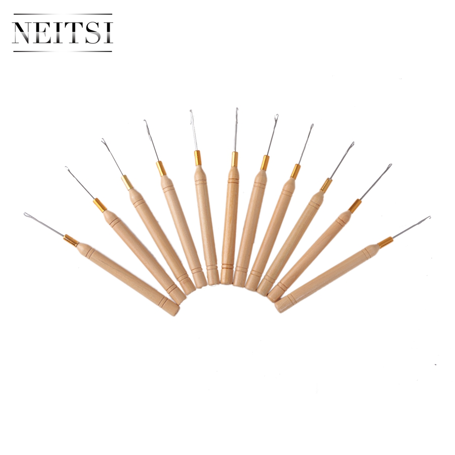 Neitsi Wooden Handle Hook Needles Micro Rings Needle Hairdressing Styling Hair Tools For Ring Hair Extensions 10pcs/lot