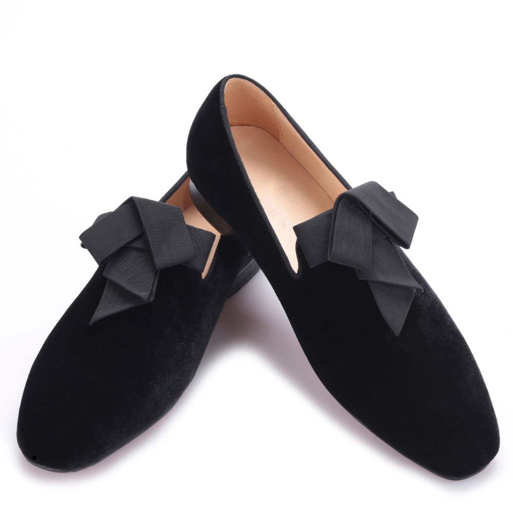 2017 handsome smoking slipper in black silk with a refined velvet band detail Party and Wedding men Loafers male dress shoes in detail interni