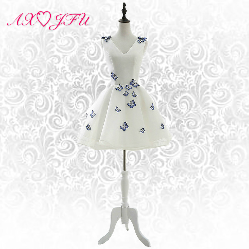 e5bd9aa5a034 LE CELEBRE λευκή δαντέλα μπλε πεταλούδα φόρεμα βράδυ v λαιμό ...