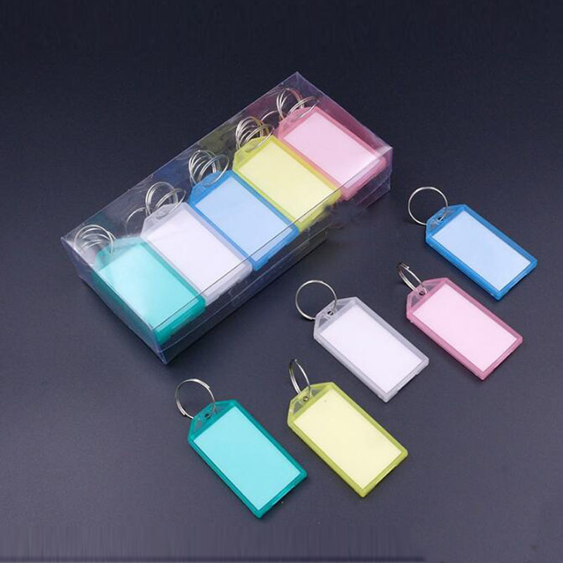 50pcs Metal Ring Colorful Plastic Key Fobs Luggage ID Card Name ...