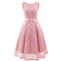 Youthful Floral Lace Dress for Women Plus Size O neck Sleeveless Midi Dresses Female Elegant Vestidos Fashion Dancing Ball Gown