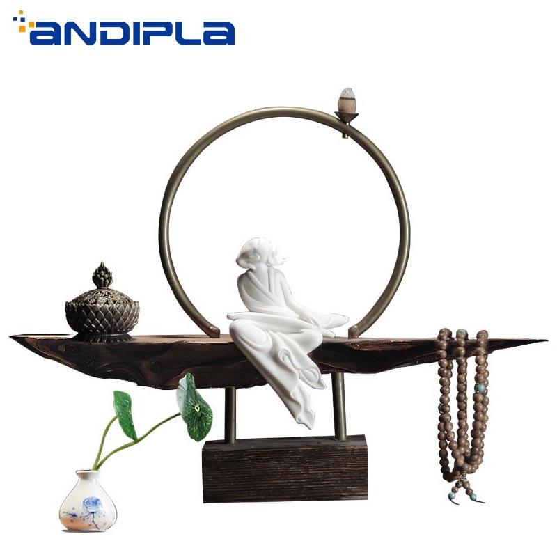Zen Buddha In Ceramica Bruciatore di Incenso Titolare Bastone di Riflusso Cono di Incenso Incenso Forno Vintage Creativo Complementi Arredo Casa Forno Aromaterapia
