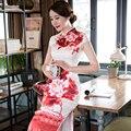 Chinese Women's Satin Cheongsam Long Floral Dress Velvet Silk Qipao S-3XXL China Oriental Dresses Traditional Chinese Cheongsams