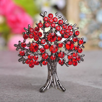 Luxurious Black Gun Plated Ruby Color Tree Brooches Red Crystal Dress Hat Corsage Women Girls Wedding