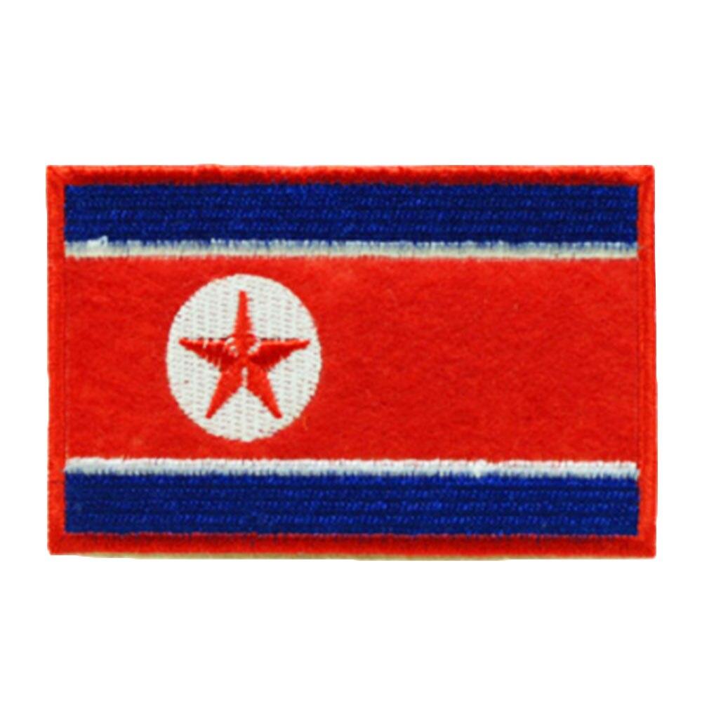 Нашивки с национальным флагом для одежды, нашивки с национальной эмблемой, нашивки с вышивкой, наклейки для одежды, нашивки с изображением страны, железные нашивки - Цвет: North Korea