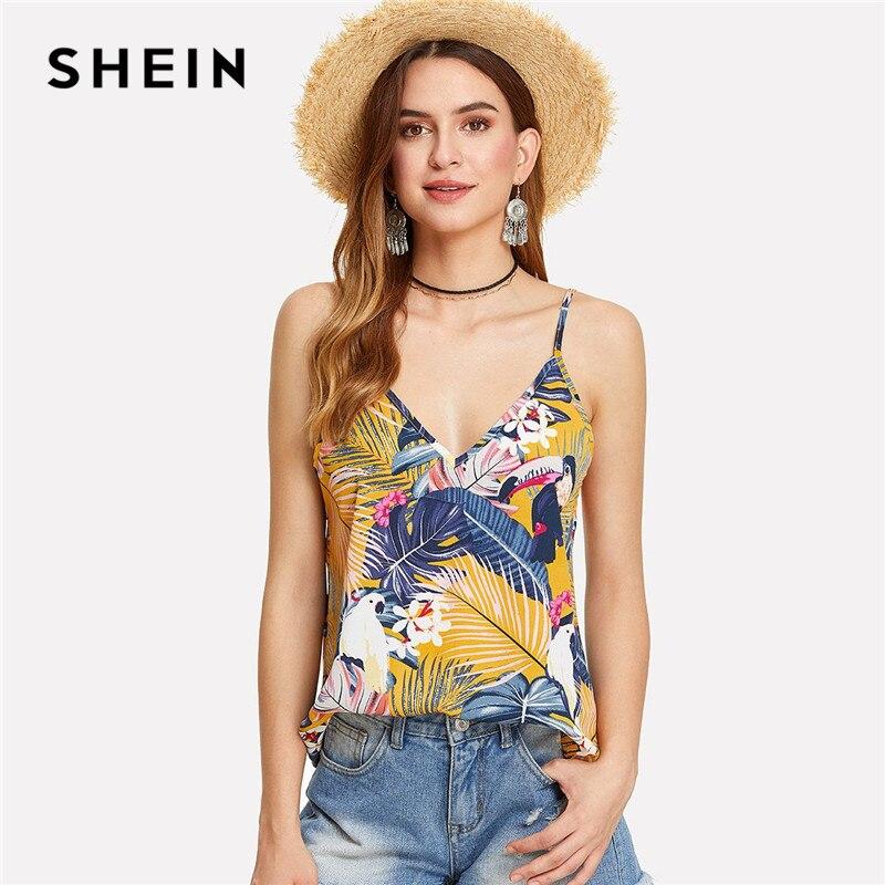 SHEIN Multicolor Urlaub Boho Bohemian Strand Floral Tropical Gemischt Print Backless Doppel Tiefen V-ausschnitt Sommer Frauen Cami Top