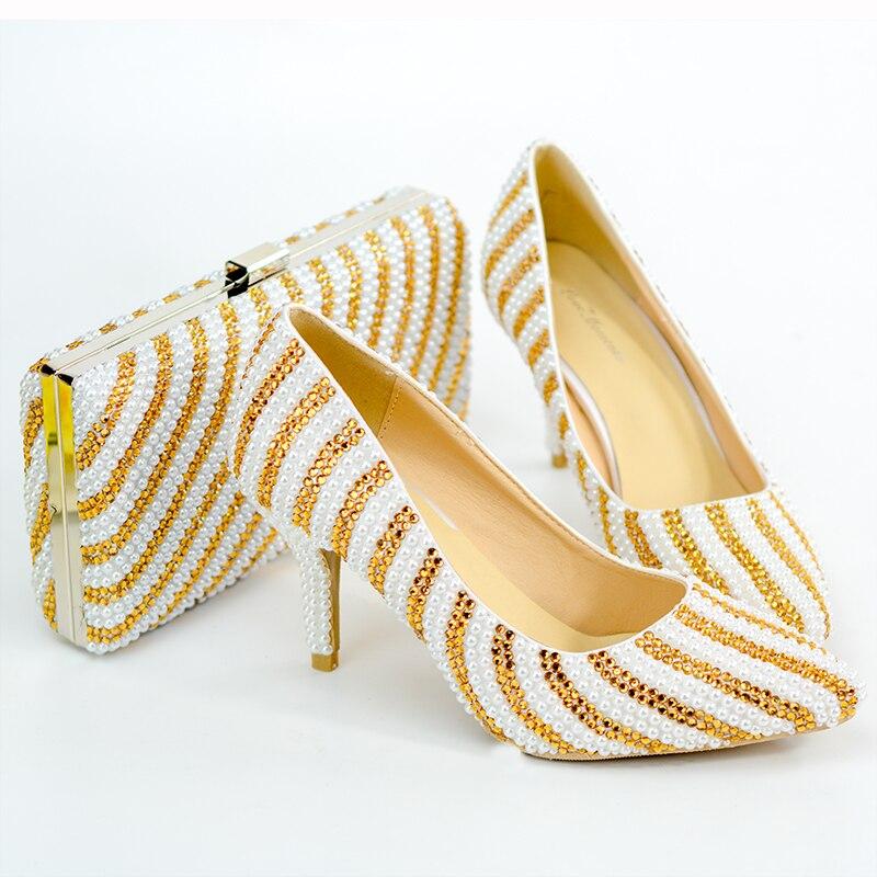 Chaussures en or sur mesure et sac ensemble de chaussures de mariage embrayages de fête Style italien Sweety princesse perles de haute qualité cristal fabriqué à la main