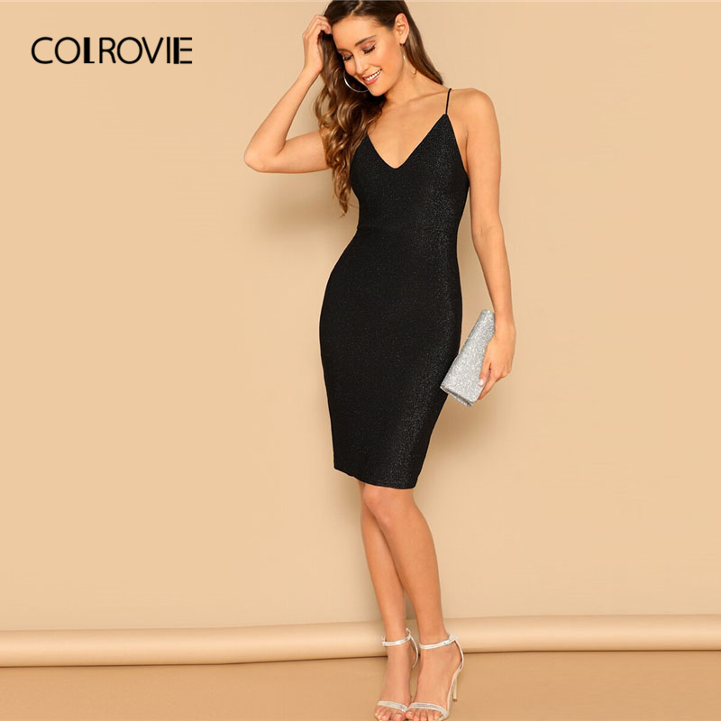 COLROVIE <font><b>Black</b></font> Spaghetti Strap Lace Up Open Back <font><b>Bodycon</b></font> Glitter Slip <font><b>Sexy</b></font> <font><b>Dress</b></font> Women <font><b>2019</b></font> <font><b>Summer</b></font> <font><b>Sleeveless</b></font> Club Midi <font><b>Dresses</b></font> image
