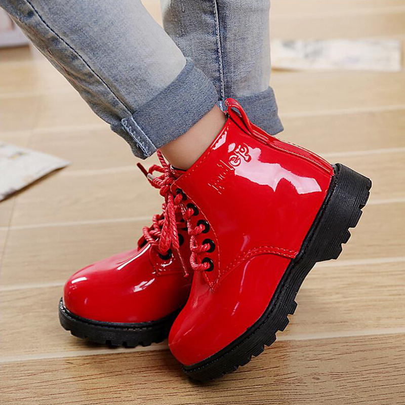 2019child Leather Boots  Female Child Martin Boots  Boys Shoes Single Shoes Little Girl Spring Baby Boots