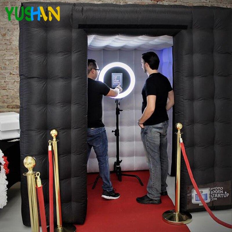 Agradável Backdrops Partido cabine Cabine de Fotos Inflável Com Luzes LED Nenhum equipamento Portátil Inflável Tenda cenário De Casamento de Vendas
