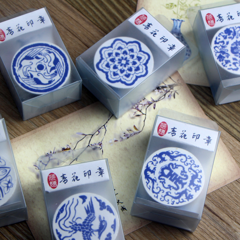 Blue And White Porcelain Stamp Diy Retro Diary Stamp Opp Packed 6 Selected 4 * 2.5cm спеленок сок яблоко вишня с 5 мес 200 мл