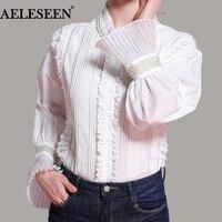 Women S Tops Blouses Black White Shirt Luxury Lace Flare Long Sleeve Lapel Ruffled Beading Blusas