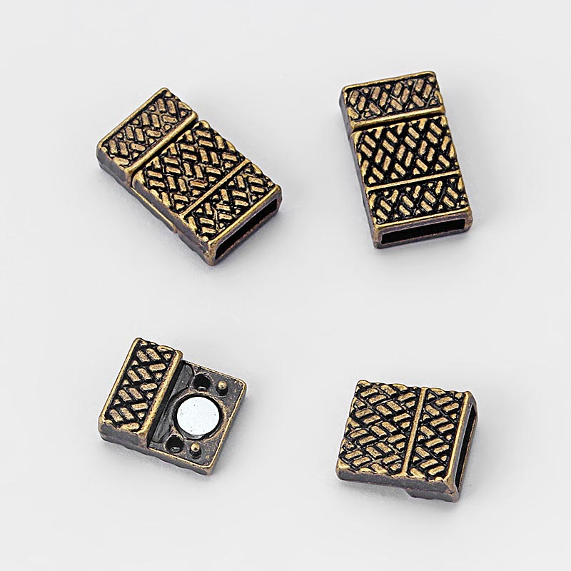 5 sets Polished Magnetic Clasp for 5mm 10mm Flat Leather Cord