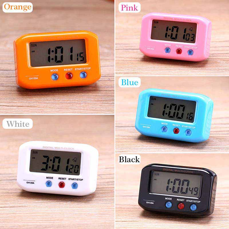 Portable Small LCD Digital Time & Date Alarm Clock Stop Snooze Night Light Kitchen Room Clocks Best Price