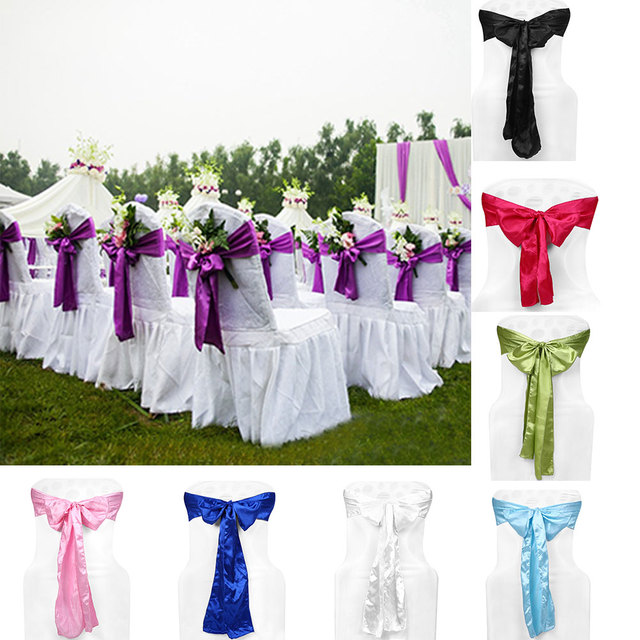 romantic chair sashes satin covers ribbon wedding home hotel decor home textile - Violet Hotel Decor