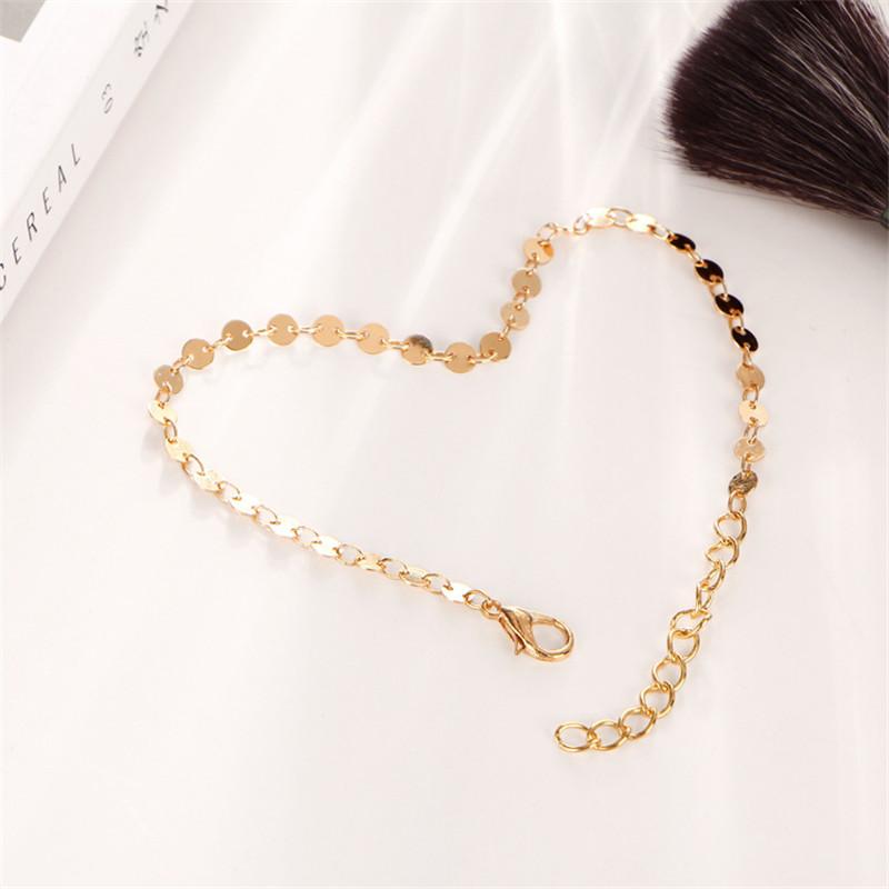 MISANANRYNE Simple Women/Men Bangle Gold Color personality retro alloy round Flat sequins Link Chain Bracelet Pulseira 7