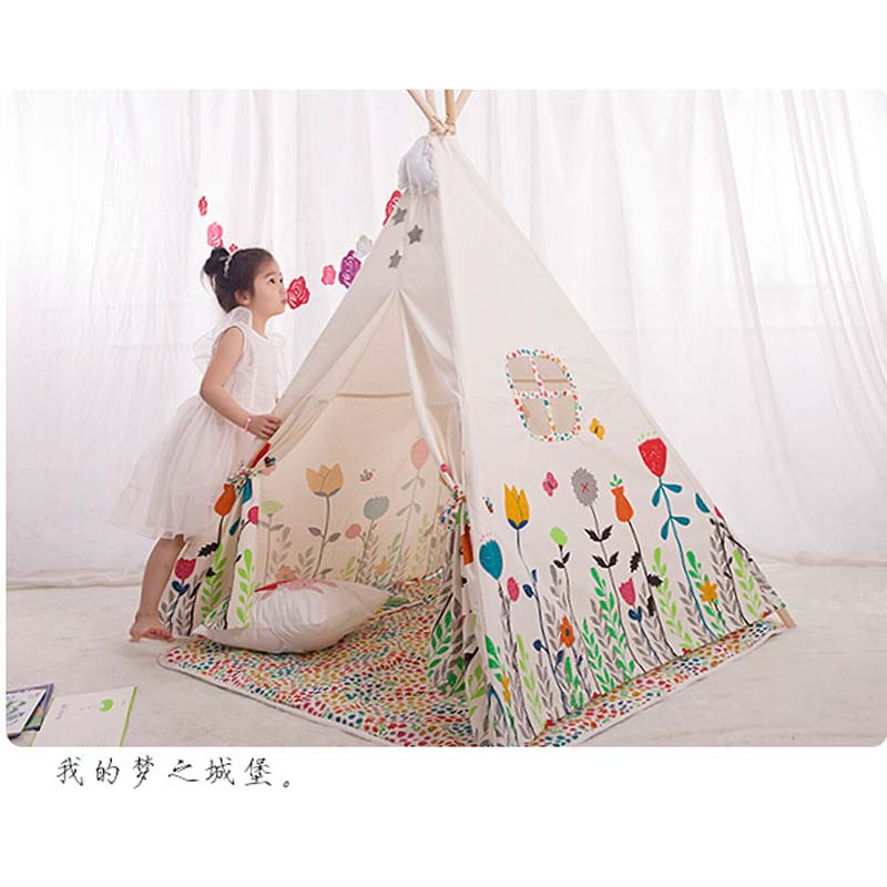 buy popular 76695 ff3d6 US $129.0 |100% pure cotton! White kids teepee tent for kids child tent  kids play tent Indian Teepee tent for kids-in Toy Tents from Toys & Hobbies  on ...