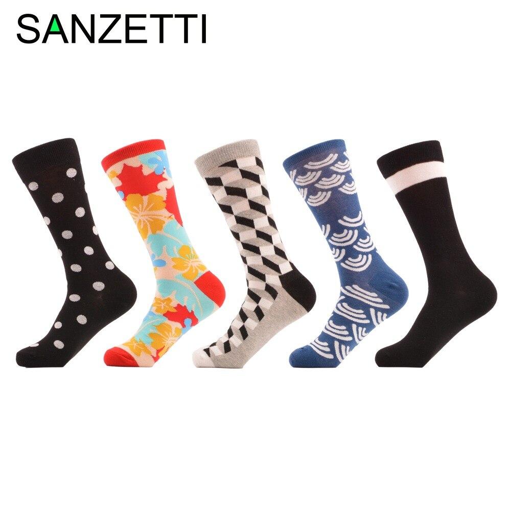 SANZETTI 5 pair/lot Man Colorful Funny Printing Socks Breathable Spring Autumn leaves black maple leaf Socks