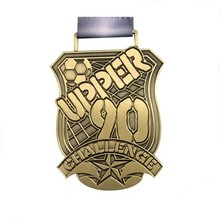 Antique Bronze Gold Plated Commemorative Medal Hot Sale 3D Engraving and Ribbon
